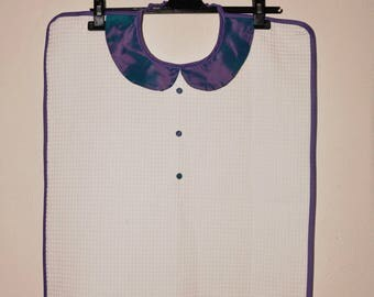 Adult bib collar blue moiré taffeta women