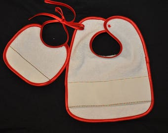 Set of 2 baby bibs with embroidery-white satin red-Christmas