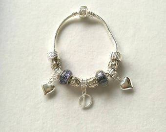 European bracelet with European beads blue night silver customizable letter