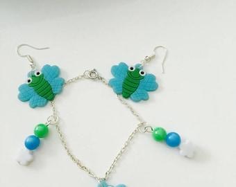 Child set bracelet and earrings Butterfly jewelry