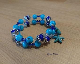 Blue bracelet, bracelet beads bracelet shape memory, adjustable bracelet, women bracelet