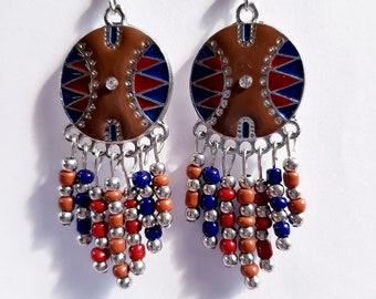 Enamel and pearls chandelier earrings