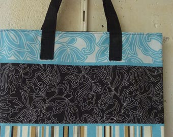 cotton tote bag / blue flower and stripe pattern linen