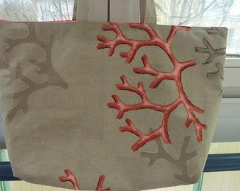 Coral pattern cotton tote bag