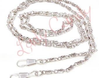 Chain shoulder strap 120 cm silver color snap clutch #330058