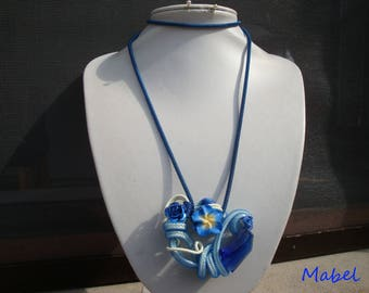 Fantasy necklace, blue and ivory, foil and mesh wire, Pearl glass and polymer clay, vacation, summer