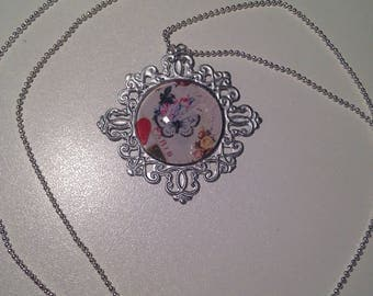 """Butterfly"" glass cabochon necklace"