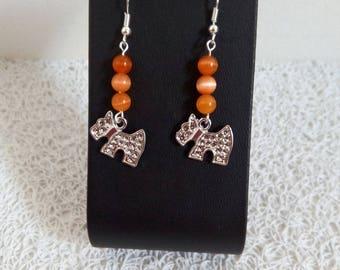 orange beads and charm earrings