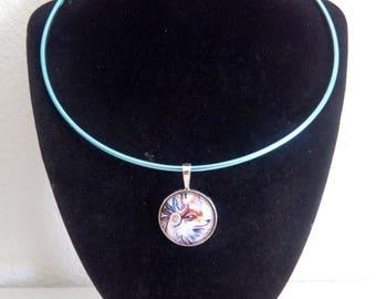 Blue Dog glass cabochon necklace