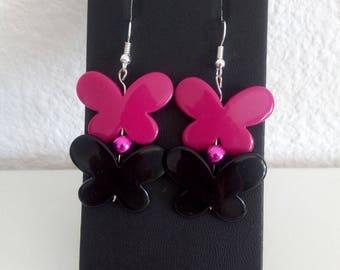 Earrings Butterfly fuchsia and black