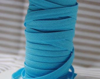 Cotton plain bias folded 9/4/4, turquoise, various colors