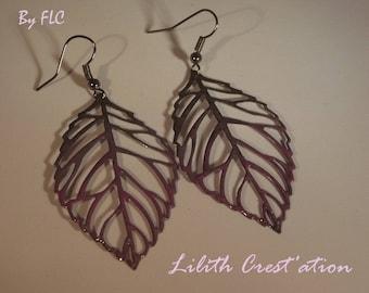 Cold (141215-C) sterling silver enamel carved leaf earrings