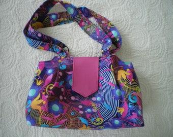 Multicolored patchwork fabric shoulder bag