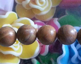 5 beads of wood lace stone, round, 8 mm in diameter, hole: about 1 mm