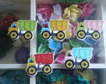 5 buttons truck 2 printed hole sewing buttons wooden, multicolor, 30 x 22 x 3 mm, hole: 1.5 mm