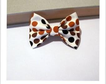 "hair bow ""clip - me"" white brown black dots"