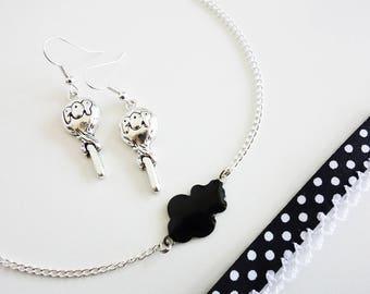 """Parure """"Pop"""" Collier nuage - Bracelet Liberty - Boucles d'oreilles Sucettes // Couleur Argenté, Blanc et Noir // Collection So Mademoiselle"""