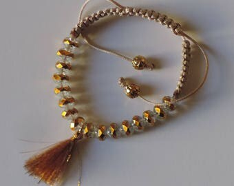 Clear and gold faceted glass beads bracelet