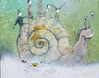 Table - trip of four characters on the back of a giant snail - watercolor, ink and acrylic.