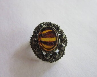 Antique Costume Tiger Strip Art Glass Silver Filigree Brooch