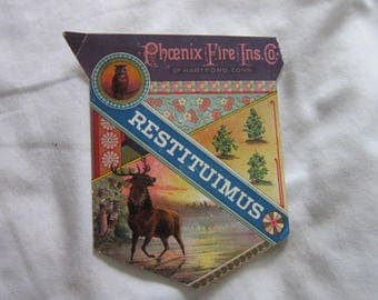 C 1880 Antique Trade Card Restituimus Phoenix Fire Insurance Wonderful