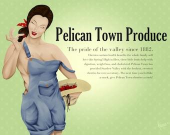 Pelican Town Produce Pin Up Print   Matte