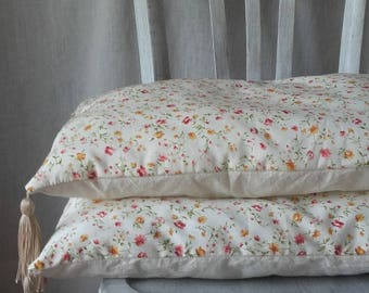 Pillows with tassels small spring flowers