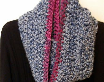 Crocheted Infinity scarf - blue and pink