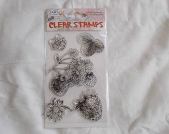1 embroidery sheet of clear stamps theme stamps strawberries