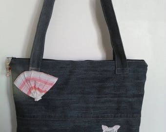Recycled denim and cotton canvas shoulder bag