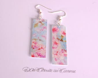 Apple blossoms, pink and pastel blue Stud Earrings