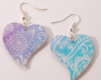 Blue and purple gradient, heart Stud Earrings,