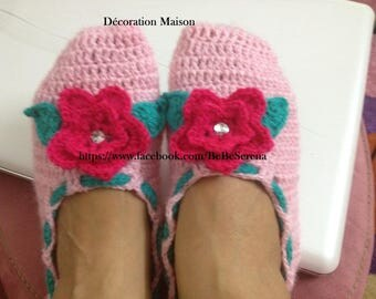 Baby Pink women slippers warm crochet