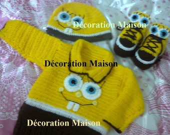 Set baby boy crocheted sponge bob