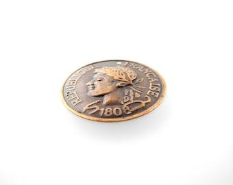 Copper color coin charm