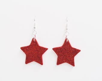 handmade glitter star drop earrings