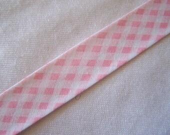 Bias pink gingham, width 40/20 mm (Bi-5046)