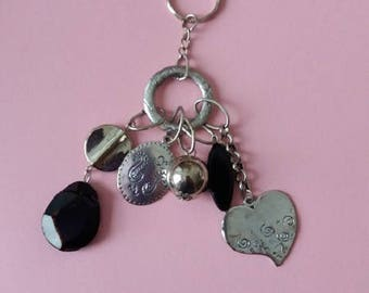 Keyring with silver charms
