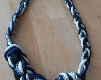 Blue and white Choker