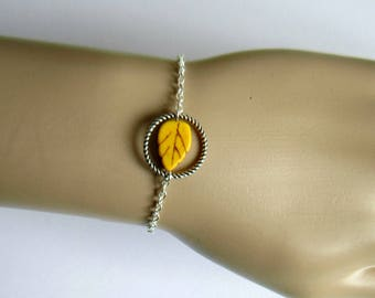 Silver DIY Kit bracelet Kit, circle and leaf in yellow howlite