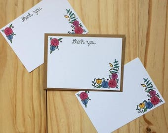 Thank You Note Card - Pack Of 10 - Postcard - Watercolour - Floral