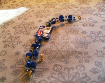 "beautiful blue and yellow ""abstract"" bracelet"