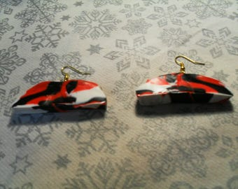 fashion style earrings, original, stylish, summer (black, red and white)