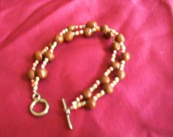 """""""Tan"""" Brown polymer clay and Beads Bracelet"""