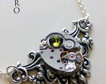 "Victorian steampunk necklace ""Splendor"" fern green - jewelry-steampunk - steampunk necklace - personalized jewelry - Christmas gift"