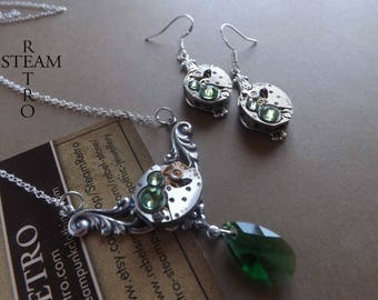 Green rococo steampunk - Steampunk set wedding - necklace jewelry and Steampunk earrings