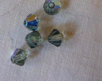 "38 genuine ""india sapphir AB"" Swarovski Crystal bicones 4 mm"