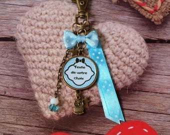 Personalized OWL keychain or OWL, personalized with text or photo of your choice. Blue