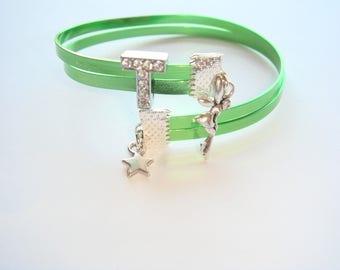 aluminum Wire Bracelet flat green rhinestone letter