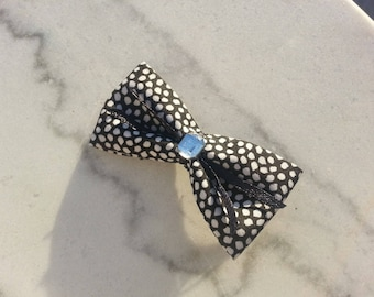 Barrette hair clip, black bow with white polka dots, rhinestones